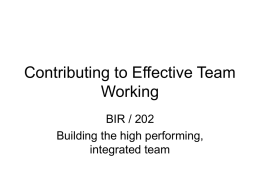 Contributing to Effective Team Working