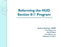 Reforming the HUD Section 811 Program