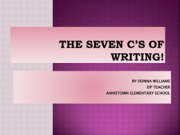The Six C's of Writing! - Gwinnett County Public Schools