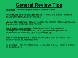 Essay Tips - Tamalpais Union High School District