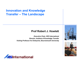 Innovation through Knowledge Transfer Partnerships