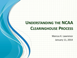 Understanding the NCAA Clearinghouse Process