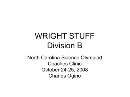 WRIGHT STUFF - NCSO :: North Carolina Science Olympiad
