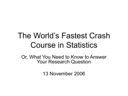 The World's Fastest Crash Course in Statistics