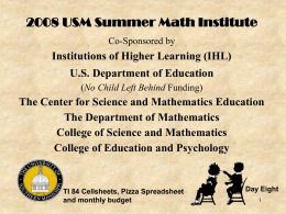 USM 2003 Summer Math Institute Your Mathematics