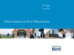 Observations on Peer Observation