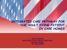 INTEGRATED CARE PATHWAY FOR THE ADULT DYING …