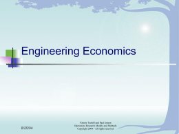 Place of Engineering Economics in the World