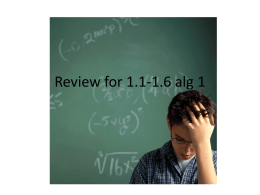 Review for 1.1-1.6 alg 1 - Greer Middle College Charter