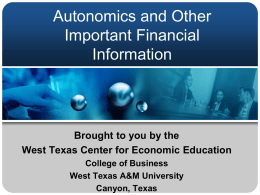 Autonomics and Other Important Financial Information