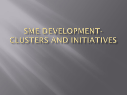SME DEVELOPMENT- CLUSTERS AND INITIATIVES