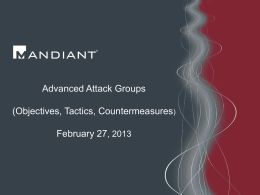 Advanced Attack Groups (Objectives, Tactics