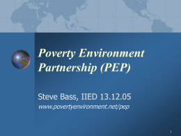 The Future of the PEP - Poverty and Conservation Learning