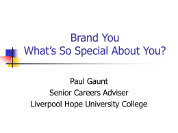 Brand You What's So Special About You? - talent