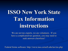 ISSO Tax Information Session