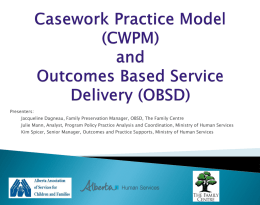 Outcomes Based Service Delivery and the Casework Practice