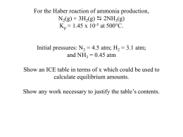 For the Haber reaction of ammonia production, N2(g) + 3H2