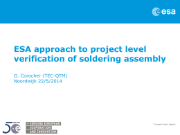 ESA approach to project level verification of soldering