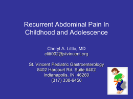 Functional Abdominal Pain In Childhood and Adolescence