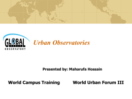 The Global Urban Observatory