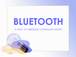 Bluetooth - School of Information Technology, IIT kharagpur
