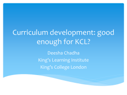 Curriculum design supporting KCL