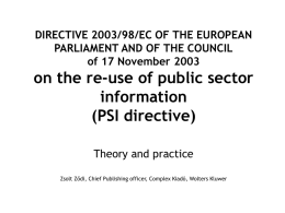 DIRECTIVE 2003/98/EC OF THE EUROPEAN PARLIAMENT AND …
