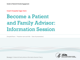 Strategy 1: Working with Patients & Families as Advisors