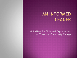 An Informed leader - Tidewater Community College