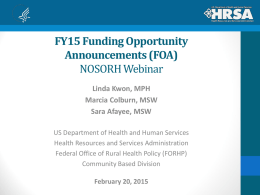 FY15 Rural Health Care Services Outreach Funding
