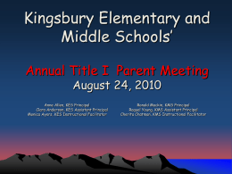 Whitney Elementary Title I Annual Parent Meeting September