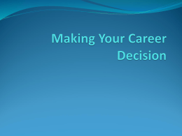 Making Your Career Decision