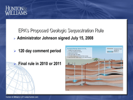 Presentation on EPA Proposed Geologic Sequestration Rule