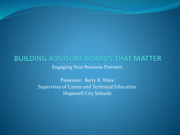 BUILDING ADVISORY BOARDS THAT MATTER