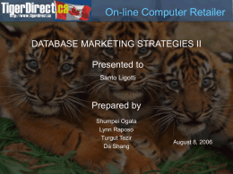 DATABASE MARKETING STRATEGIES II