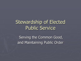 Stewardship of Elected Public Service
