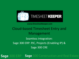 TimeSheetKeeper - TPAC Third Party Advantage Conference