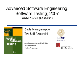 Software Verification - University of Denver