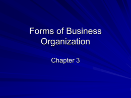 Choosing a Form of Business Ownership
