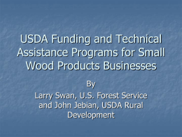 USDA Funding and Technical Assistance Programs for Small