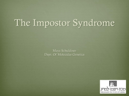 The Imposter Syndrome - Weizmann Institute of Science