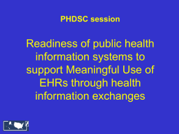 PHDSC ELR Meaningful Use