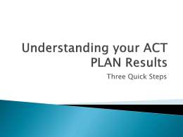 Understanding your ACT PLAN Results