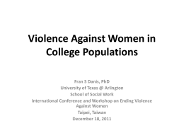 Violence Against Women in College Populations
