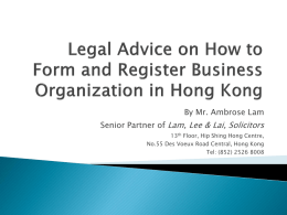 How to Form and Register Business Organization in Hong Kong