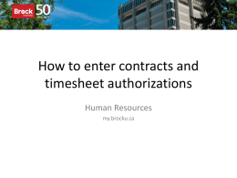How to enter contracts and timesheet authorizations