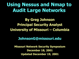 Using Nessus and Nmap to Audit Large Networks