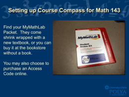 Setting up Course Compass for Math 143