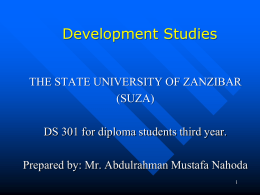 What is Political Economy? - State University of Zanzibar