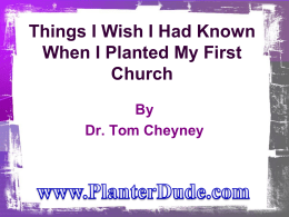 Things I Wish I Had Known When I Planted My Church